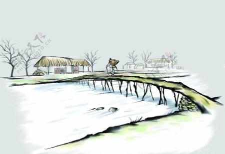 中国风背景传统文化韩过河桥图片