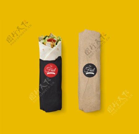 西式快餐鸡肉卷汉堡VI样机图片