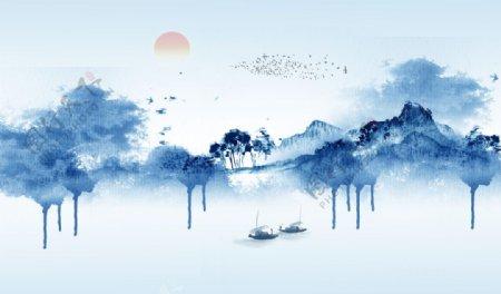 水墨画山水画背景墙中式图片