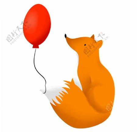 狐狸和气球图片