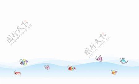 卡通海洋鱼群图片