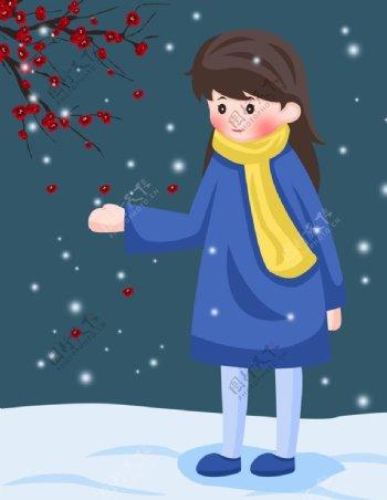 卡通女孩玩雪图片
