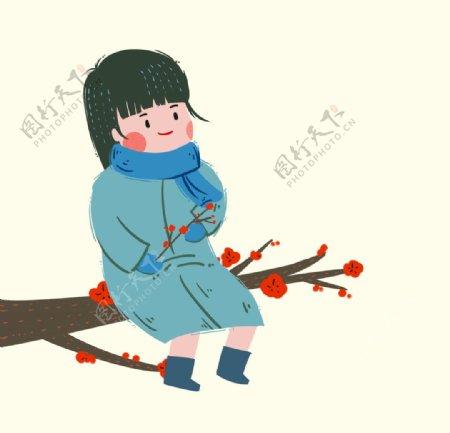 坐在梅花树上的女孩图片