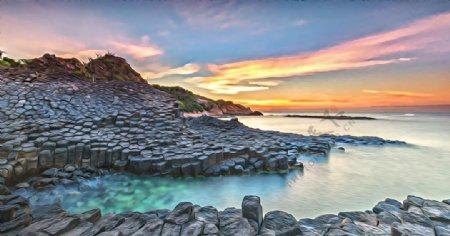 岩石风景油画图片