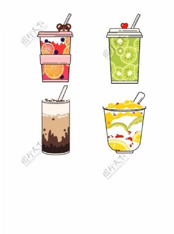 卡通奶茶水果茶图片