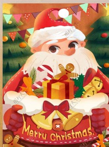 圣诞老人圣诞树圣诞节平安夜礼物图片