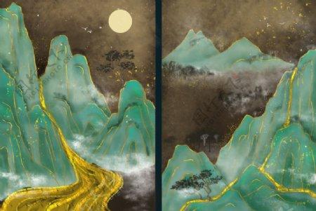 烫金山水中国风图片