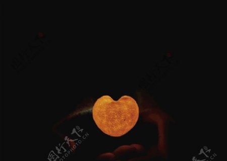 爱心橘灯图片