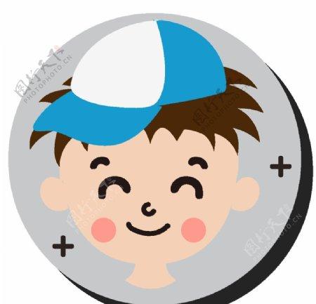 卡通鸭舌帽男孩头像图片